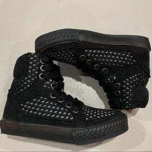 AMIANA Girl Black Mesh High Top Sneakers size 8